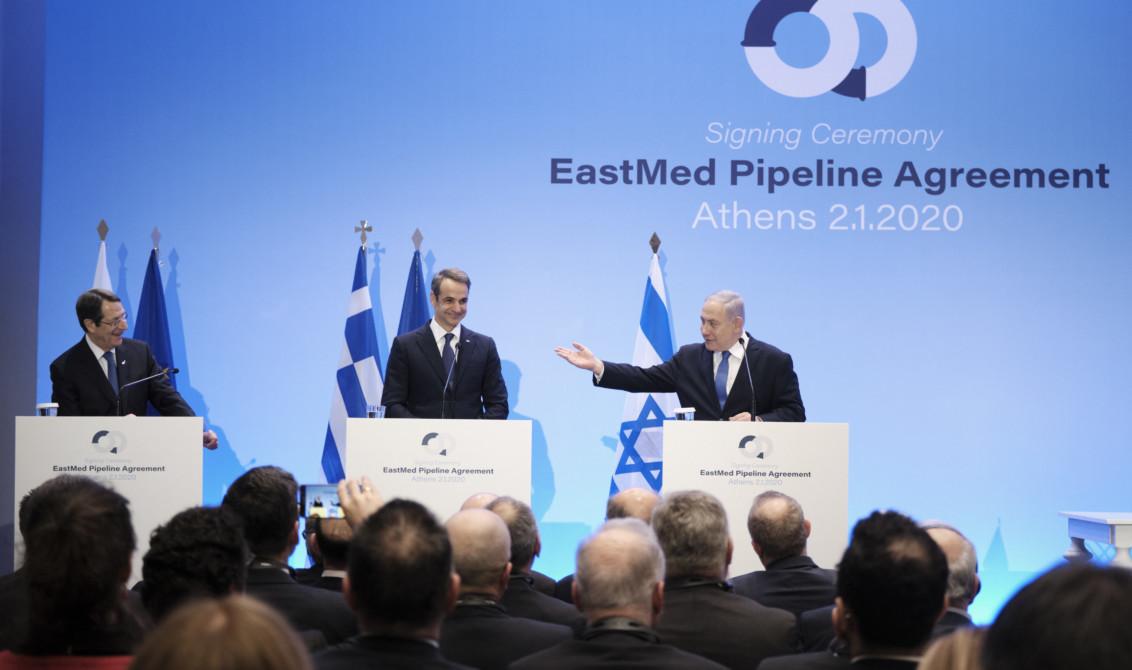 Benyamin Netanyahou aux côtés des dirigeants grec et chypriote lors de la signature du projet East Med. Photo : Nouvelle Démocratie.